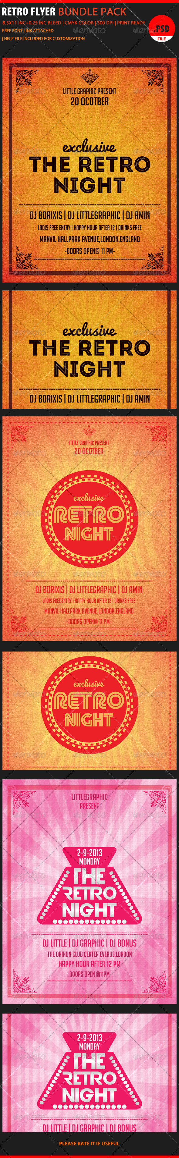 GraphicRiver Retro Party Flyer Bundle 6048123