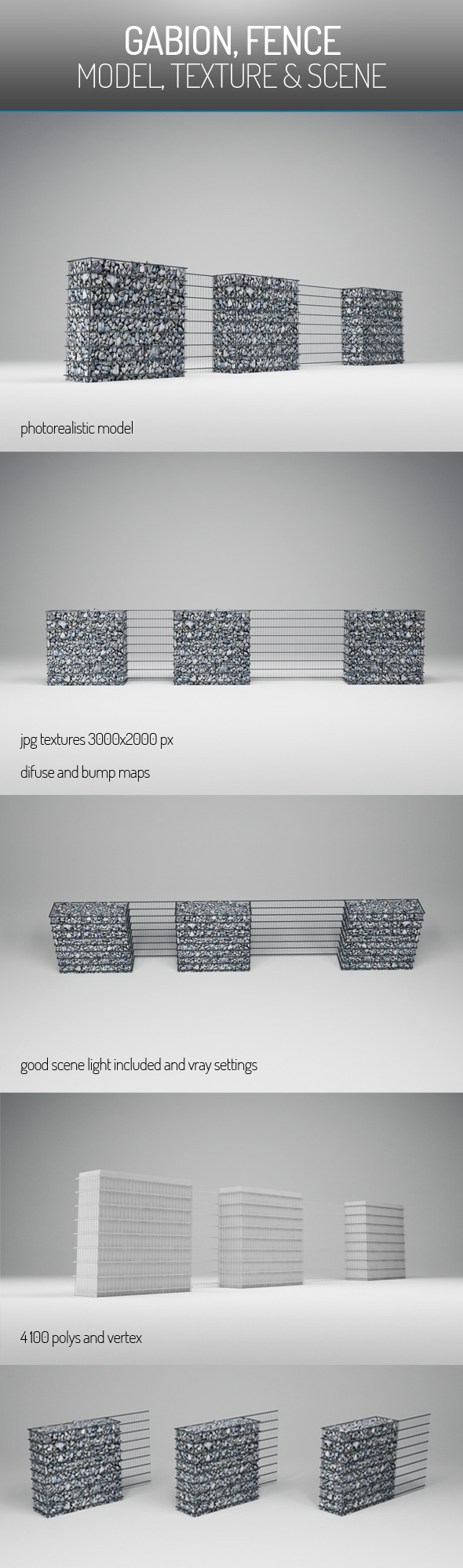 3DOcean Gabion Fence 6049580