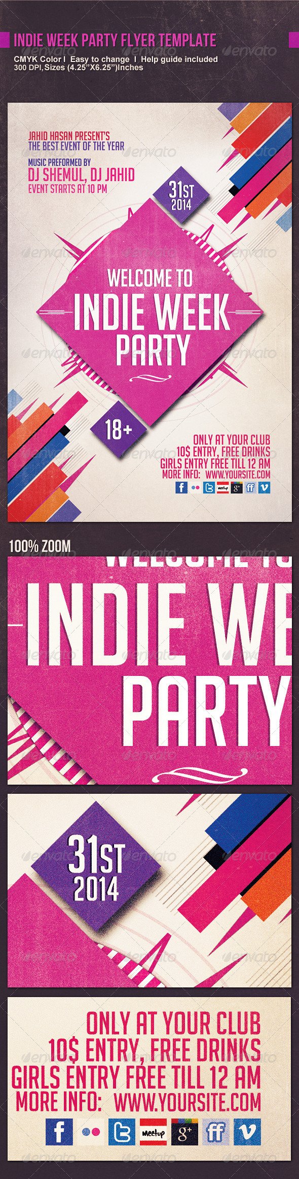GraphicRiver Indie Week Party Flyer Template 6049590