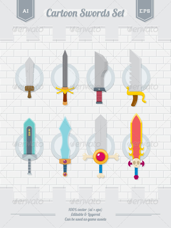 GraphicRiver Cartoon Swords Set 6047788