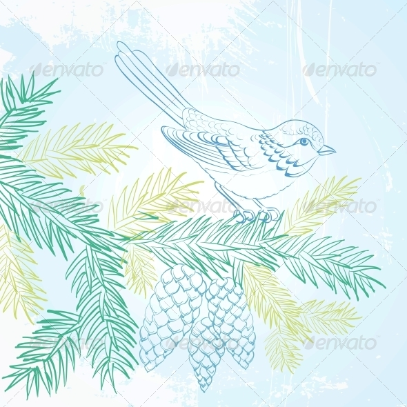 GraphicRiver Bird on Christmas Fir and Pinecone 6049711