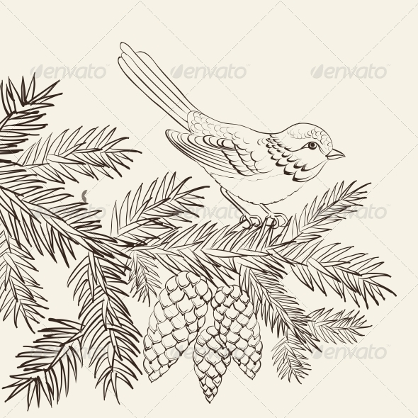 GraphicRiver Bird on Christmas Fir and Pinecone 6049717
