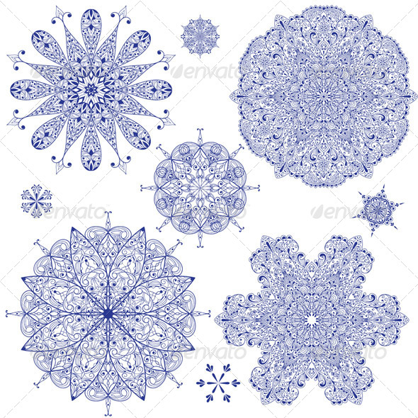 GraphicRiver Vector Blue Highly Detailed Snowflakes 6050602