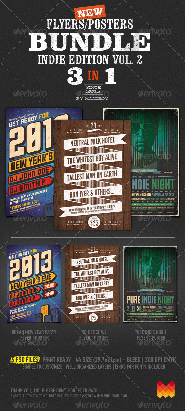 Indie Flyers/Posters Bundle Vol. 2 - Events Flyers