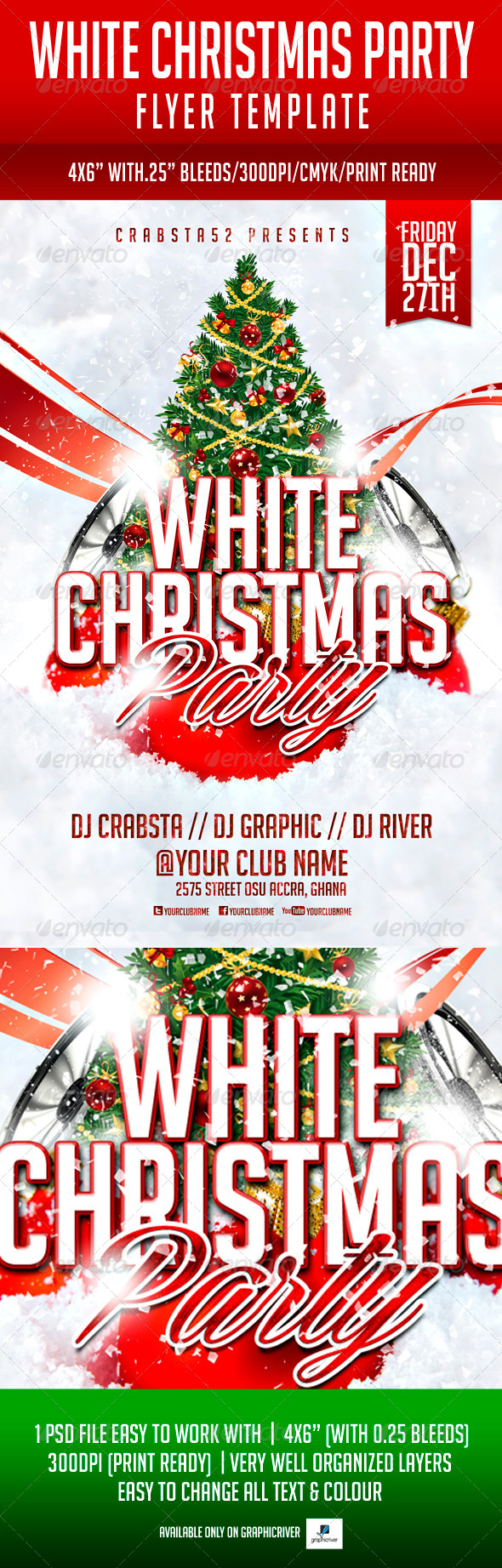 GraphicRiver White Christmas Party Flyer Template 6018959