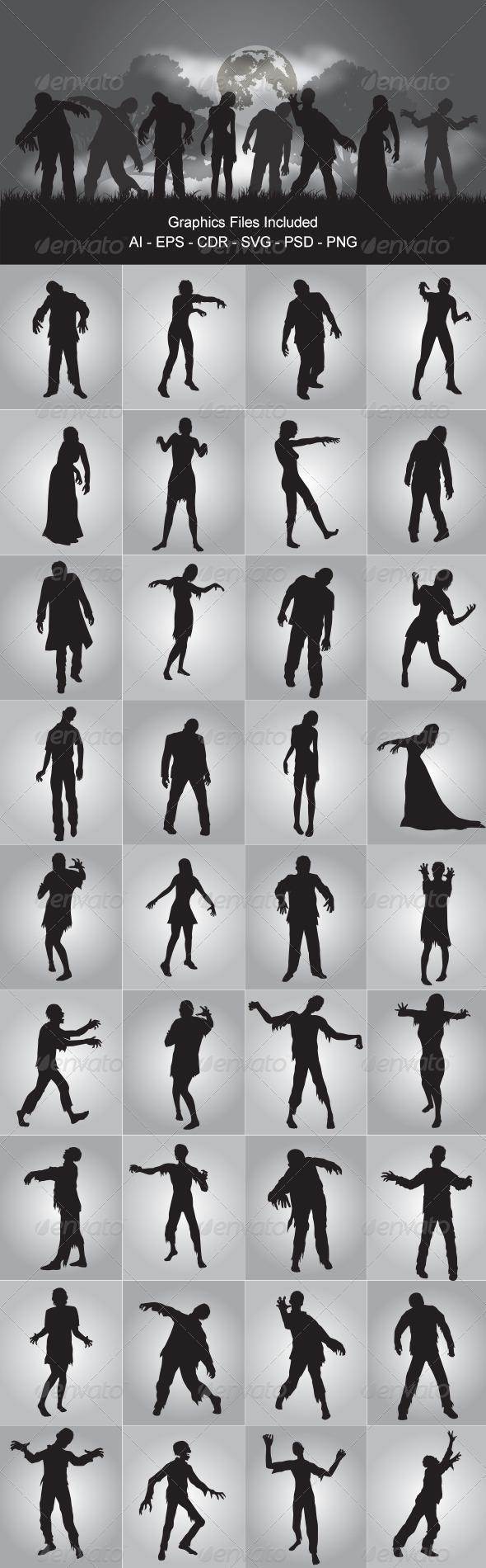 GraphicRiver Zombie Silhouettes 6053591