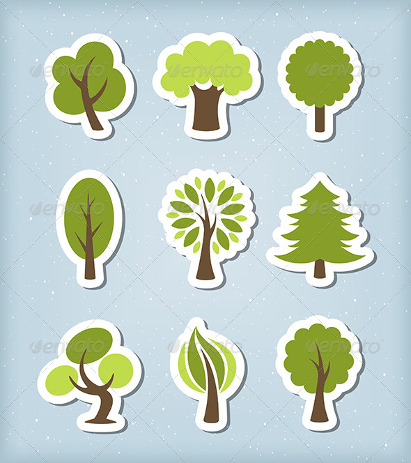 GraphicRiver Tree Paper Cut Vector Set 6053830