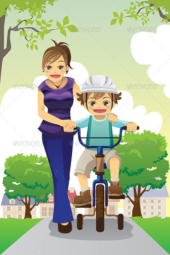 GraphicRiver Mother Teaching Son Biking 6054101