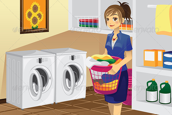 GraphicRiver Housewife doing Laundry 6054672