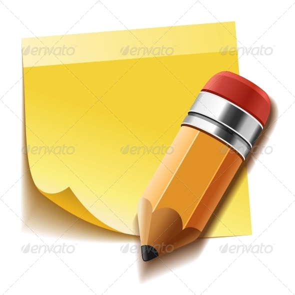 GraphicRiver Yellow Stick Note and Pencil 6054793