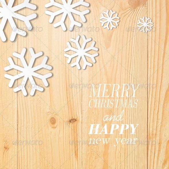 GraphicRiver Wood Board with White Snow and Stars 6055201