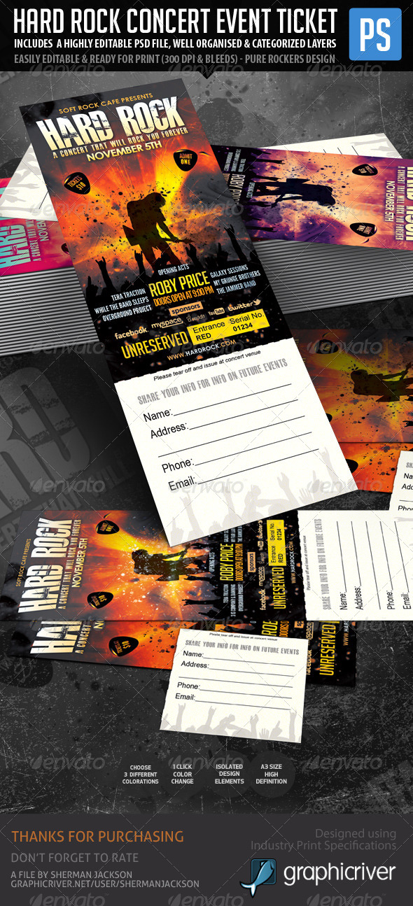 GraphicRiver Hard Rock Concert Event Ticket Show Pass 6055595