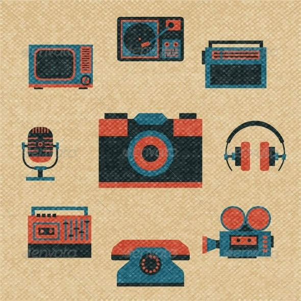 GraphicRiver Vintage Media Icons 6057981