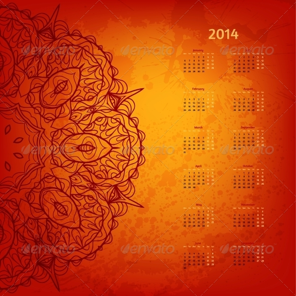GraphicRiver 2014 Year Arabesque Calendar 6058158