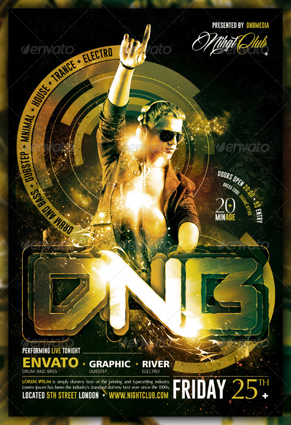 GraphicRiver Dubstep Drum and Bass Electro Flyer Poster 6059031