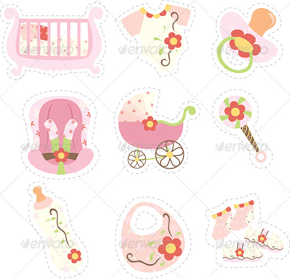 GraphicRiver Baby Girl Items Icons 6061419