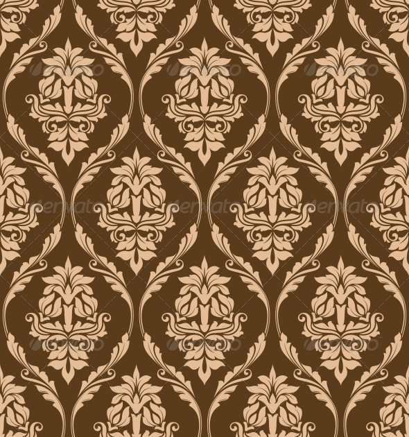 GraphicRiver Brown Floral Seamless Pattern 6061478
