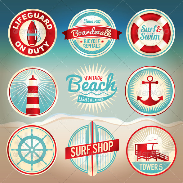 GraphicRiver Vector Vintage Beach Labels and Badges 6061744