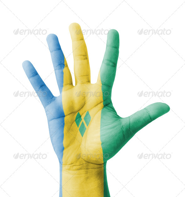 Open hand raised, Saint Vincent and the Grenadines flag painted - Stock Photo - Images