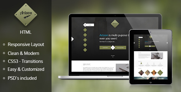 ThemeForest Artoon One Page HTML Template 6062805