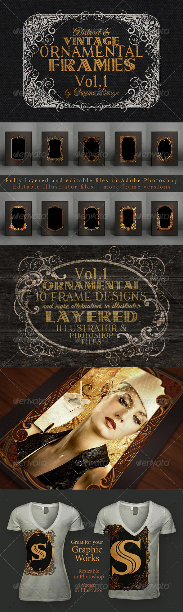 GraphicRiver 10 Frames Vol.1 Vintage Ornament 6063620