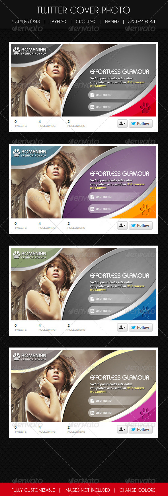 GraphicRiver Twitter Cover Glamour & Fashion 6063673