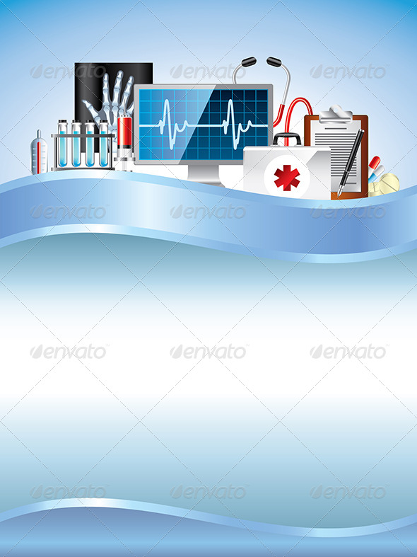 GraphicRiver Medical Equipment on Blue Vector Background 6064040