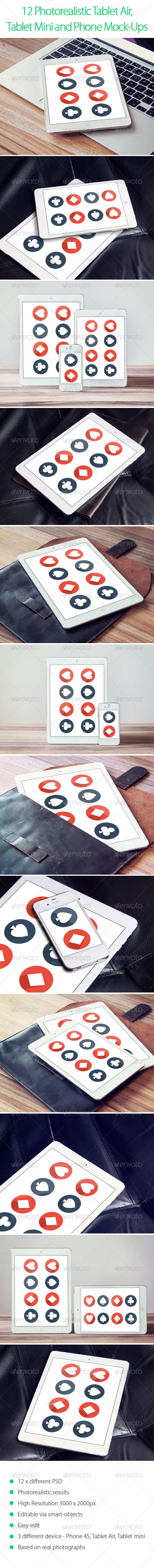 GraphicRiver 12 Photorealistic Tablet and Phone Mock-Ups 6064123
