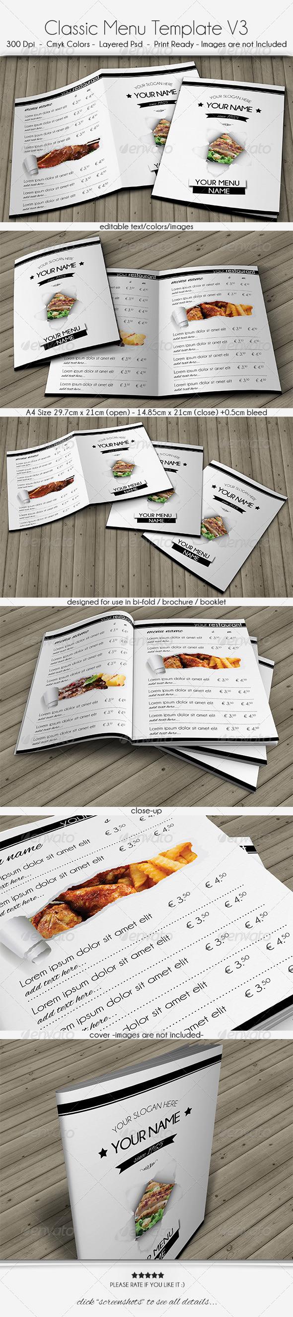 GraphicRiver Classic Menu Template V3 6060120
