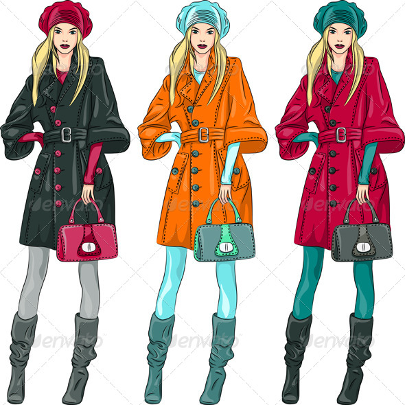 GraphicRiver Vector Fashion Girls Top Models 6064997