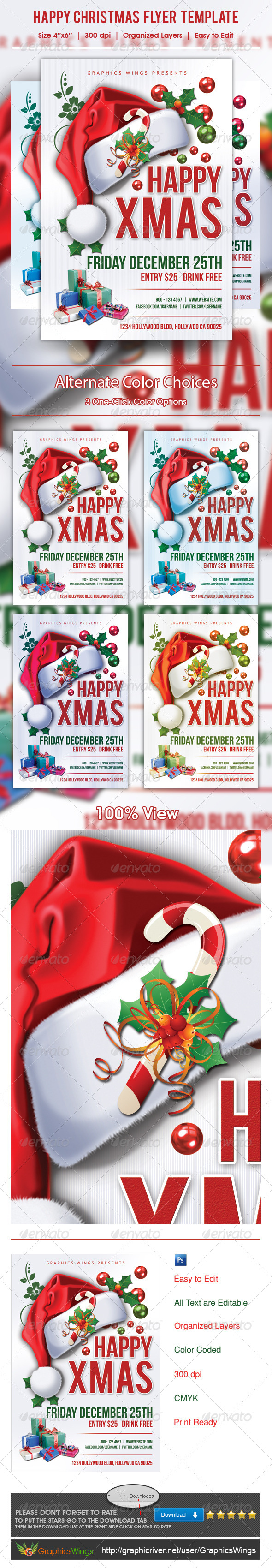 GraphicRiver Happy Christmas Flyer Template 6066660