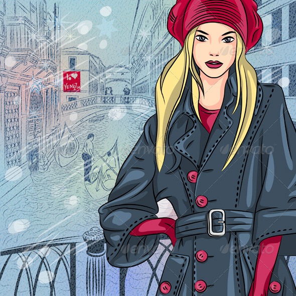 GraphicRiver Fashion Girl on the Bridge of Sighs in Venice 6066999