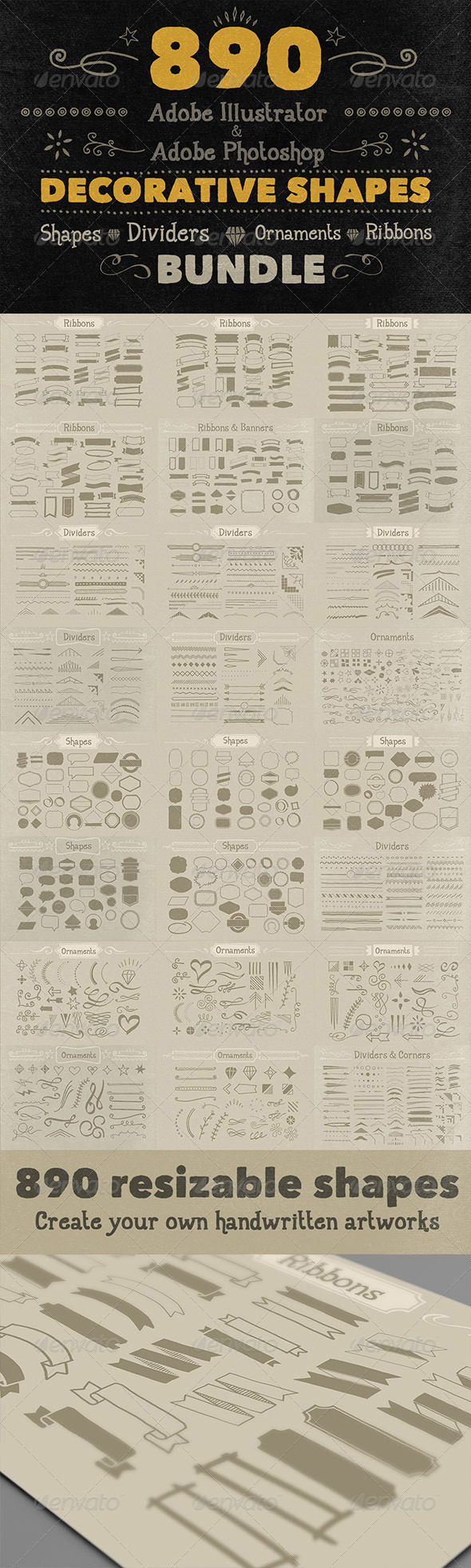 GraphicRiver 890 Handwritten Shapes Bundle 6058111