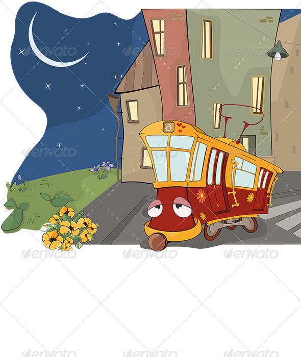 GraphicRiver Fairy Tale on a Tired Red Tram Cartoon 6067977