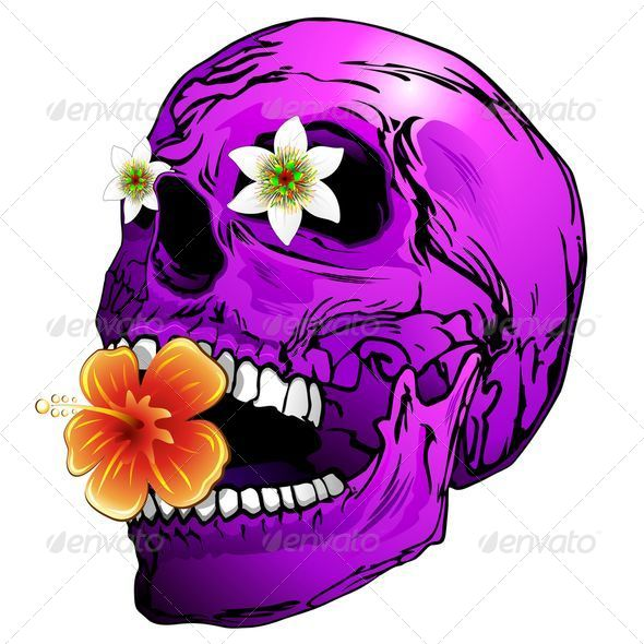 GraphicRiver Purple Skull with Tropical Flowers 6068029