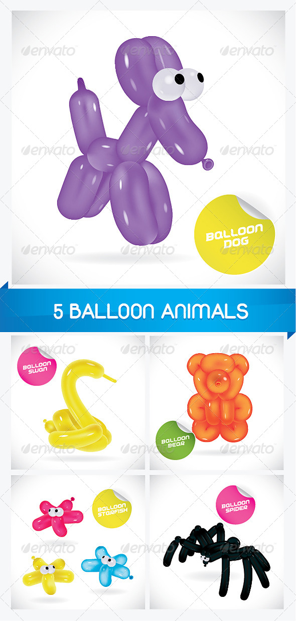 GraphicRiver 5 Balloon Animals 6068156
