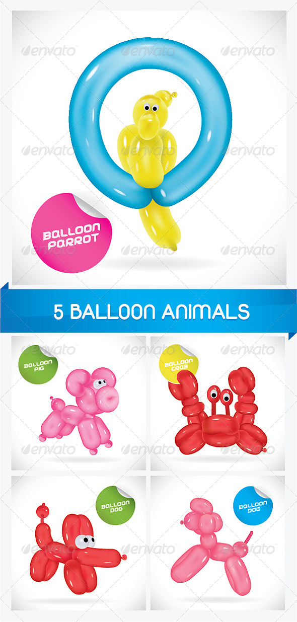 GraphicRiver 5 Balloon Animals 6068210