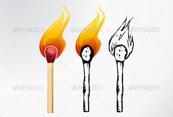 GraphicRiver Match Sticks Sketch Illustration 6068470