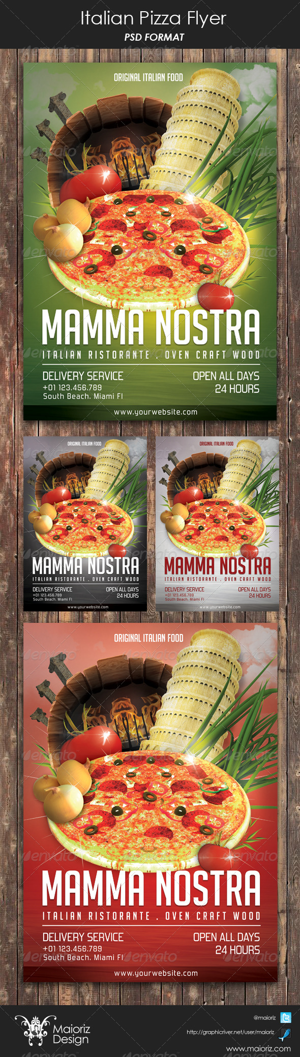 GraphicRiver Italian Pizzeria Restaurant Flyer 6068612