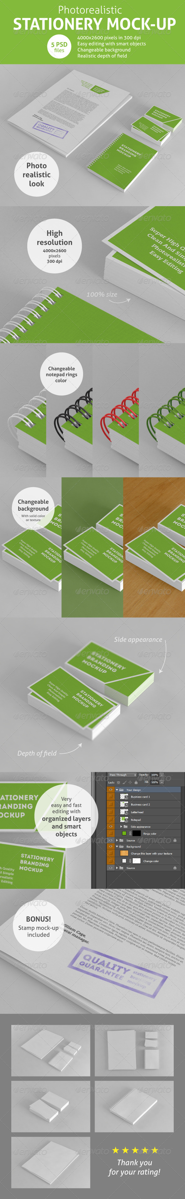GraphicRiver Photorealistic Stationery Branding Mock-Up 6068858