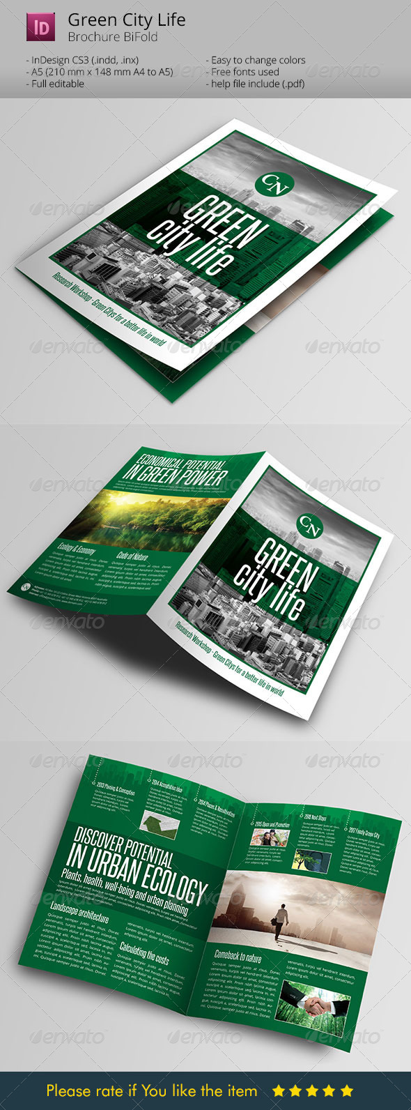 Green City Life Brochure Indesign Template - Informational Brochures