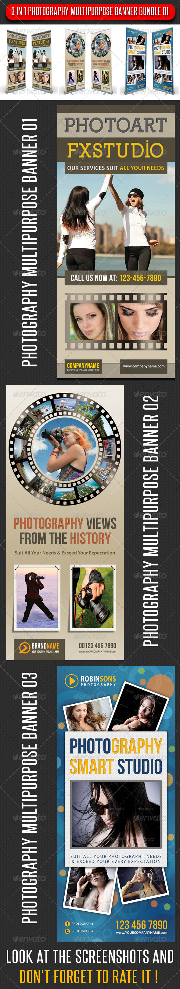 GraphicRiver 3 in 1 Photography Multipurpose Banner Bundle 01 6069468
