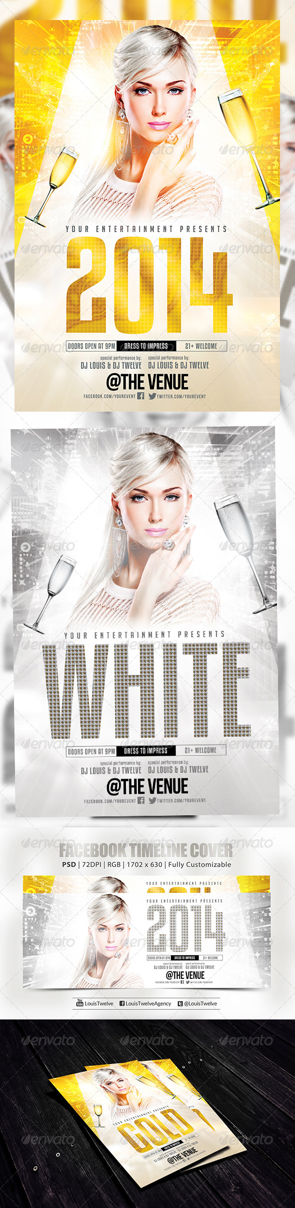 GraphicRiver New Year or White Party Flyer & FB Cover 6069917