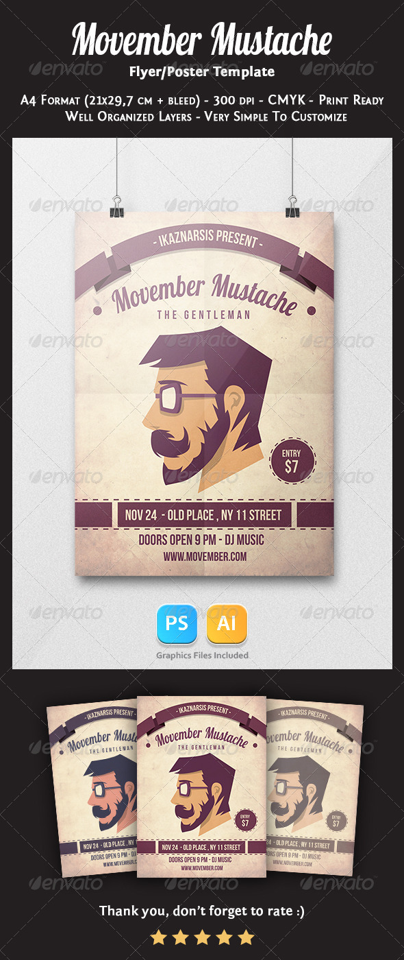 Movember Mustache Flyer Template - Clubs & Parties Events