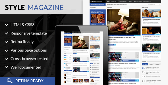 ThemeForest Style Magazine- Responsive HTML5 Website Template 6070533