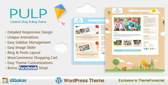Pulp is a unique Premium WordPress theme that is easy to setup and comes with a great set of features. This theme is perfect for any creative, childrens, kids,