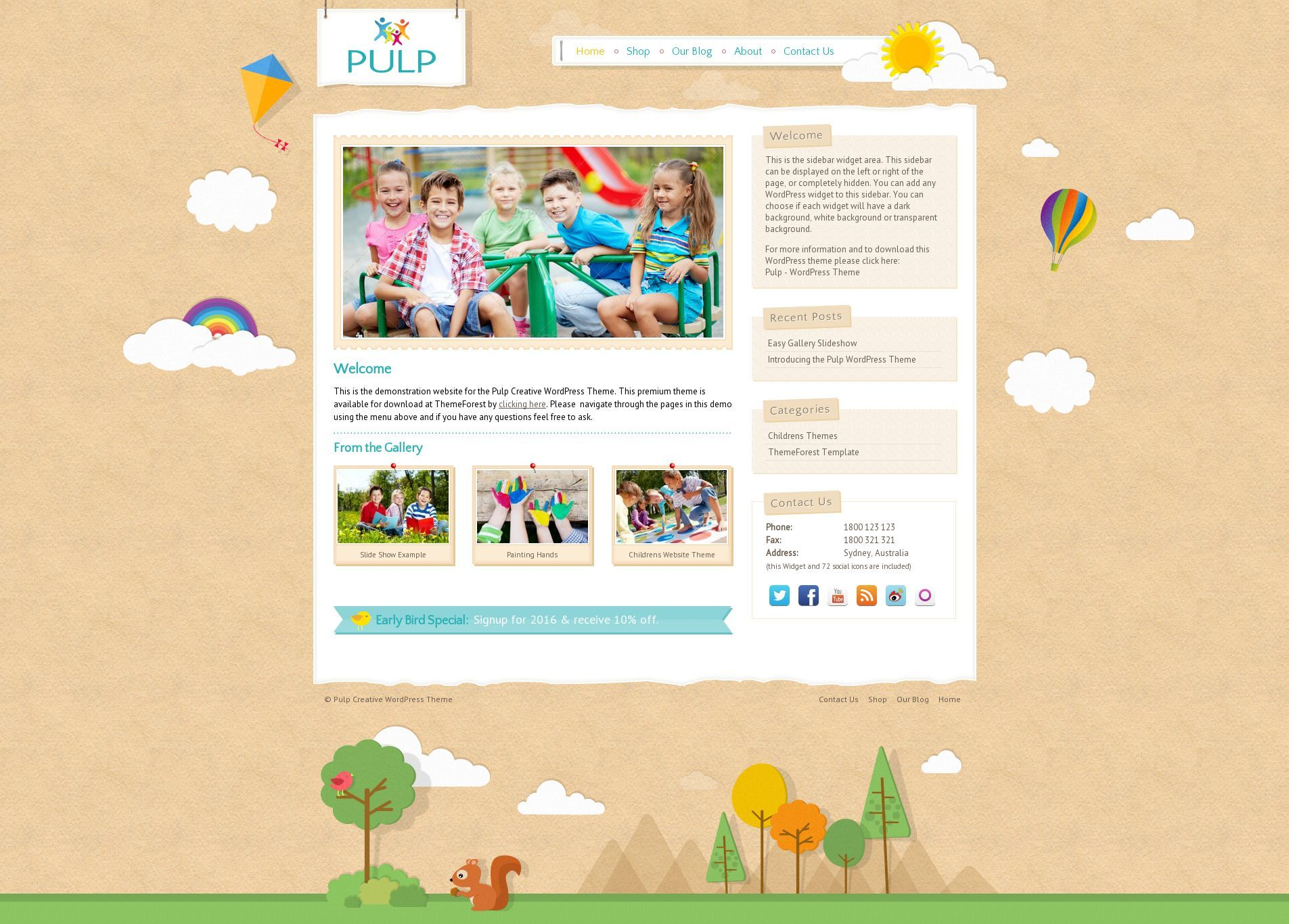 Pulp - Responsive Creative Blog & Shop - Creative responsive home page layout with a gallery.
