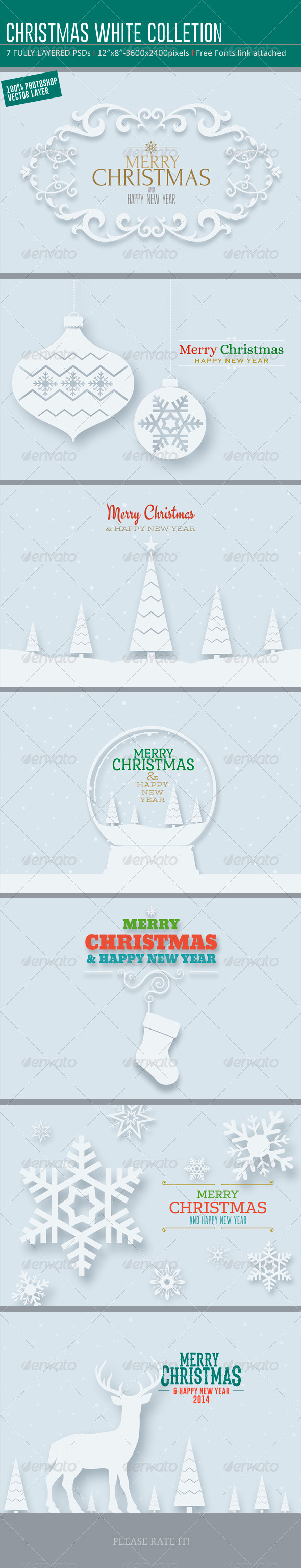 GraphicRiver Christmas White Backgrounds- Card Colletions 6027349