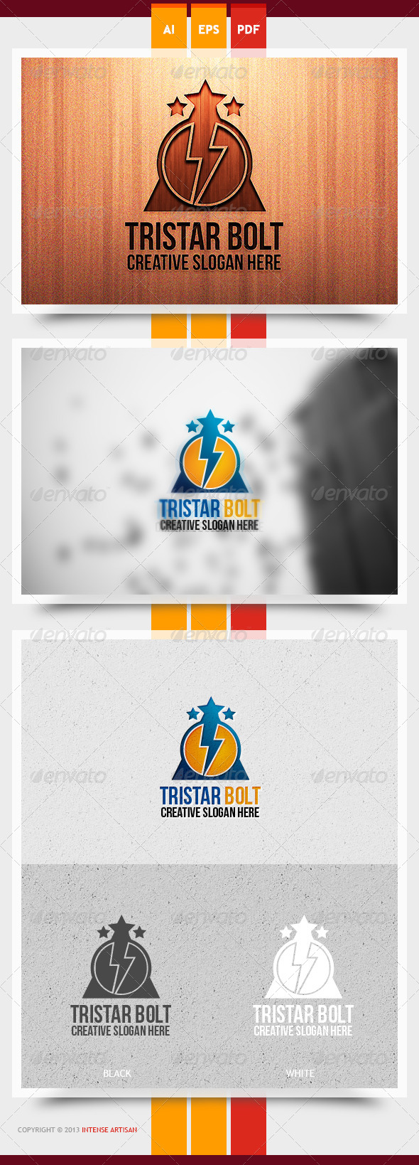 Tristar Bolt Logo Template - Objects Logo Templates