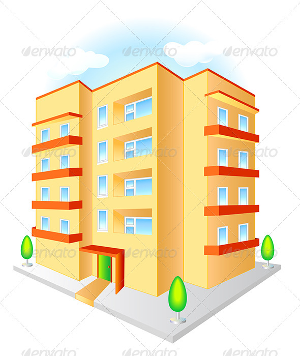 GraphicRiver New Multistoried Building with Red Balconies 6072459